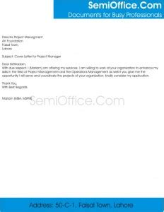 Cover letter in response to advertisement
